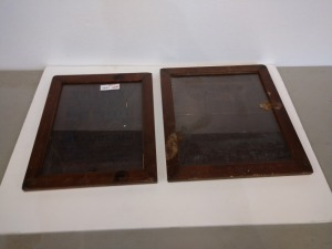 SET OF TWO ANTIQUE FRAMES WITH POSTERS INSIDE THAT ARE AGED IN HARD TO READ, 14-IN X 17-IN AND THE OTHER 16-IN X 18-IN