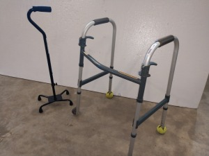 HEALTH CARE LOT INCLUDES ONE WALKER AND ONE WALK ASSIST CANE