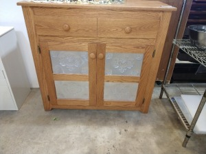 VERY NICE CABINET WITH STORAGE, DOOR INSERTS HAVE TIN PUNCH WORK , VERY NICE CABINET