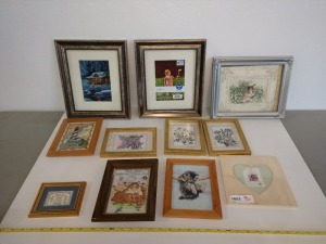 SET OF 11 PICTURE FRAMES, SOME HAVE NEEDLEPOINT ARTWORK IN THEM