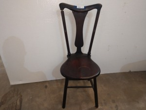 UNIQUE SHAPE ANTIQUE CHAIR, IN FAIRLY GOOD CONDITION, NEEDS REGLUED ON BACK, SEE PICTURE