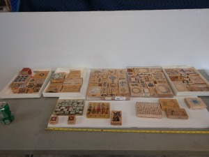 APPROXIMATELY 70 PLUS VARIOUS SIZE AND TYPE RUBBER STAMP COLLECTION