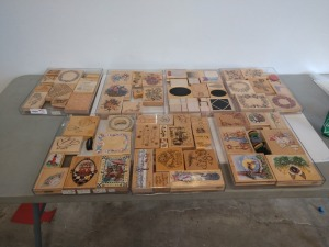 APPROXIMATELY 60 PLUS VARIOUS SIZE AND TYPE RUBBER STAMP COLLECTION