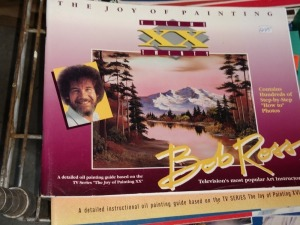 ENTIRE TOP SHELF OF BOB ROSS BOOK S AND OTHER TEACHING MATERIAL