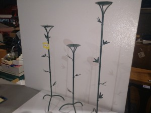 SET OF THREE CANDLE HOLDERS, VINE THEMED AND MADE OF METAL
