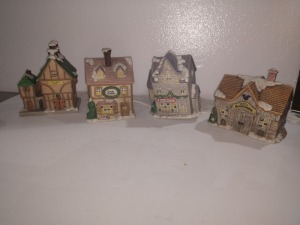SHADOW FOUR CHRISTMAS VILLAGE HOME DECOR, LIGHTED