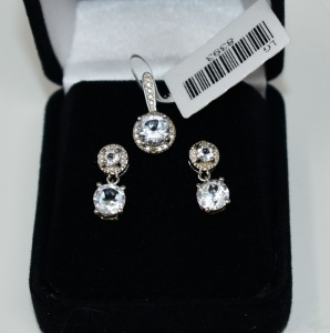 STERLING SILVER WHITE TOPAZ PENDANT AND EARRINGS SET