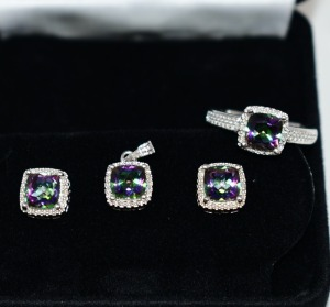 STERLING SILVER MULTI COLOR GEMSTONE JEWELRY SET RING SIZE 7