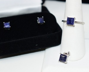 STERLING SILVER POLISHED SAPPHIRE STONE JEWELRY SET RING SIZE 8