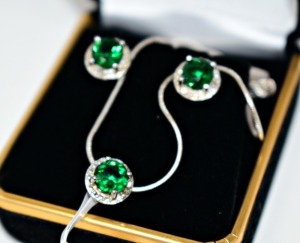STERLING SILVER CREATED EMERALD NECKLACE AND EARRINGS JEWELRY SET