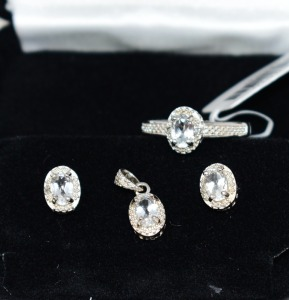 STERLING SILVER WHITE OVAL TOPAZ JEWELRY SET RING SIZE 7