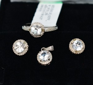 STERLING SILVER WHITE ROUND TOPAZ JEWELRY SET RING SIZE 6