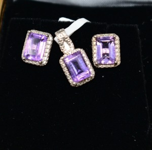 STERLING SILVER AMETHYST PENDANT AND EARRINGS JEWELRY SET
