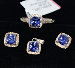 STERLING SILVER LAB TANZANITE GEMSTONE JEWELRY SET RING SIZE 8