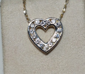 STERLING SILVER CZ HEART SHAPED PENDANT AND CHAIN