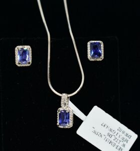 STERLING SILVER LAB TANZANITE GEMSTONE NECKLACE AND EARRING SET - MARKED