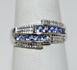 STERLING SILVER CREATED TANZANITE RING SIZE 8