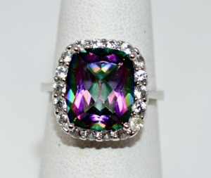 STERLING SILVER LARGE MULTI COLOR GEMSTONE RING SIZE 7