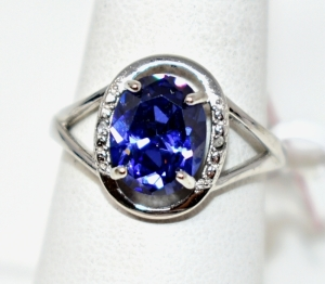 STERLING SILVER RING LAB TANZANITE SIZE 8