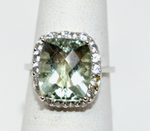 STERLING SILVER LARGE GREEN AMETHYST RING SIZE 6.5