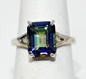 STERLING SILVER MULTI COLOR MYSTIC BLUE GEMSTONE RING SIZE 6