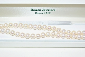 GENUINE HAND KNOTTED PEARL NECKLACE WITH STERLING SILVER CLASP