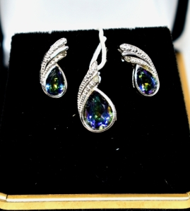 STERLING SILVER MYSTIC GEMSTONE PENDANT AND EARRINGS