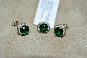 STERLING SILVER CREATED EMERALD PENDANT AND EARRINGS