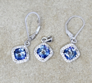 STERLING SILVER LAB TANZANITE PENDANT AND EARRINGS