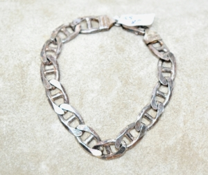 "STERLING SILVER HEAVY 8"" BRACELET 24.6 GRAMS"