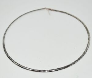 "STERLING SILVER WIDE OMEGA 20"" NECKLACE 24.09 GRAMS"