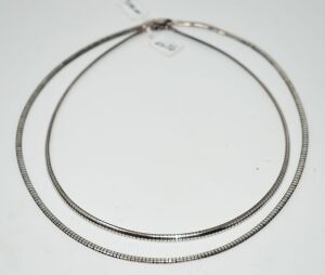 "2 STERLING SILVER OMEGA NECKLACES 16"" AND 18"" / 28.62 GRAMS"