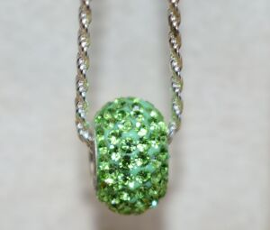 STERLING SILVER PERIDOT COLOR STONE PENDANT AND CHAIN