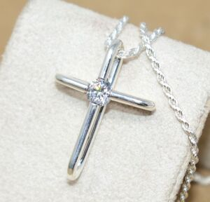 "STERLING SILVER CROSS WITH STERLING SILVER 18"" CHAIN"