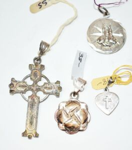STERLING SILVER RELIGIOUS PENDANTS 19.4 GRAMS