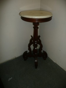 SMALL ROUND MARBLE TOP ANTIQUE TABLE