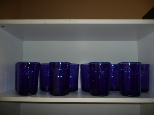 LOT OF 12 TALL COBALT BLUE GLASSES