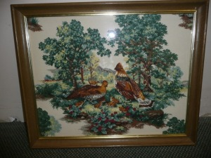 VINTAGE FRAMED FABRIC OF BIRDS