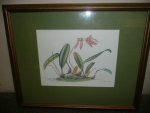 SIGNED WATERCOLOR PRINT OF FLOWERS