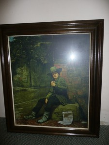 NICELY FRAMED PRINT OF A BOY EATING AN APPLE