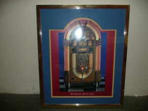 NICELY FRAMED PRINT OF A WURLITZER JUKEBOX