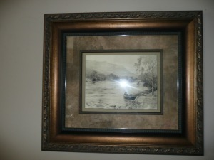 NICELY FRAMED ERNEST BRIGGS PRINT FISHING ON THE RIVER