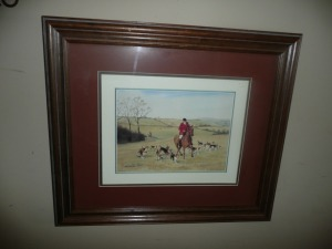 NICELY FRAMED FRED GROVES LITHOGRAPH ART HUNTING IN THE FIELDS
