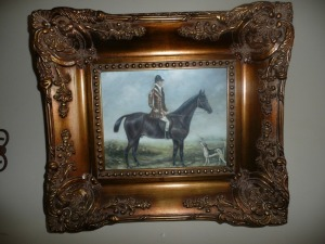 VERY NICELY FRAMED EQUESTRIAN HORSE PAINTING ON CANVAS