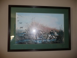 VINTAGE DUCK HUNTING PRINT NICELY FRAMED
