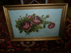 NICELY FRAMED OIL PAINTING OF ROSES