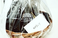 CATHEDRAL COFFEE GIFT WITH BASKET STEEL MUG, 2 SHORT SLEEVE SHIRTS 1 LONG SLEEVE SHIRT SIZES S-M-L -  AND MORE - DONATED BY THE FINE FOLKS AT CATHEDRAL COFFEE - 2
