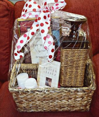 LARGE PEACE AND PRAYERS GIFT BASKET WITH WICKER CANDLE HOLDER, BOOK, CANDLES ART, THERMA PLUSH BLANKET AND MORE