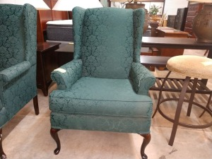VERY NICE WINGBACK CHAIR, GREEN MATERIAL WITH FLORAL PATTERN