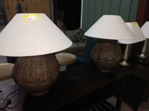 SET OF  25-IN LAMPS WITH SHADES
